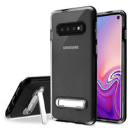Bumper Shield Clear Transparent TPU Case with Magnetic Kickstand for Samsung Galaxy S10 - Black
