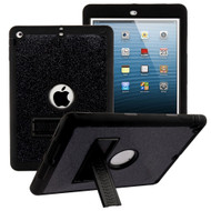 Shock Absorption Heavy Duty Glitter Hybrid Armor Case with Kickstand for iPad Air - Black