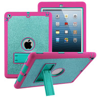 Shock Absorption Heavy Duty Glitter Hybrid Armor Case with Kickstand for iPad Air - Teal Green Hot Pink
