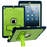 Shock Absorption Heavy Duty Glitter Hybrid Armor Case with Kickstand for iPad Air - Green Navy Blue