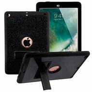 Shock Absorption Heavy Duty Glitter Hybrid Armor Case with Kickstand for iPad (2018/2017) - Black