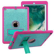 Shock Absorption Heavy Duty Glitter Hybrid Armor Case with Kickstand for iPad (2018/2017) - Teal Green Hot Pink