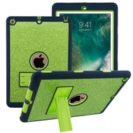Shock Absorption Heavy Duty Glitter Hybrid Armor Case with Kickstand for iPad (2018/2017) - Green Navy Blue