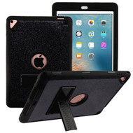 Shock Absorption Heavy Duty Glitter Hybrid Armor Case with Kickstand for iPad Pro 9.7 inch / iPad Air 2 - Black