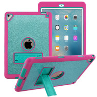 Shock Absorption Heavy Duty Glitter Hybrid Case with Kickstand for iPad Pro 9.7 inch / iPad Air 2 - Teal Green Hot Pink