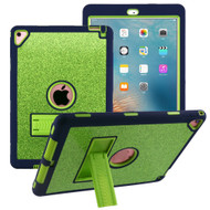 Shock Absorption Heavy Duty Glitter Hybrid Case with Kickstand for iPad Pro 9.7 inch / iPad Air 2 - Green Navy Blue