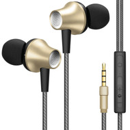 *Sale* HyperGear T5 Aircraft Aluminum Earphones with EZ Volume Slider and Microphone - Gold
