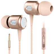HyperGear Razer Aircraft Aluminum Earphones with EZ Volume Slider and Microphone - Gold
