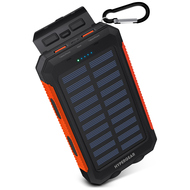 HyperGear 10000mAh Solar Powered Water Resistant Portable Power Bank Battery Charger with Dual USB Ports