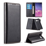 2-IN-1 Luxury Magnetic Leather Wallet Case for Samsung Galaxy S10 Plus - Black