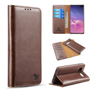 2-IN-1 Luxury Magnetic Leather Wallet Case for Samsung Galaxy S10 Plus - Brown