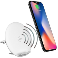 2-Way Positions 10W Fast Qi Wireless Charger Stand Pad with Quick Charge 3.0 Power Adapter - White