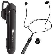 2-IN-1 Bluetooth V4.1 Wireless Earphones with Detachable Single Ear Headset - Black