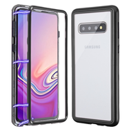 Magnetic Adsorption Tempered Glass Hybrid Bumper Case and Screen Protector for Samsung Galaxy S10 Plus - Black