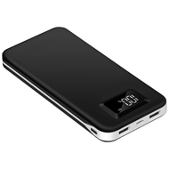 Portable 20000mAh Power Bank Dual USB Battery with Digital Battery Indicator - Black
