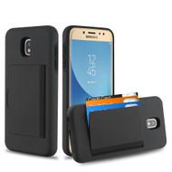 Poket Credit Card Hybrid Armor Case for Samsung Galaxy J7 (2018) / J7 Refine / J7 V (2nd Gen) - Black