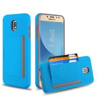Poket Credit Card Hybrid Armor Case for Samsung Galaxy J7 (2018) / J7 Refine / J7 V (2nd Gen) - Blue