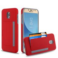 Poket Credit Card Hybrid Armor Case for Samsung Galaxy J7 (2018) / J7 Refine / J7 V (2nd Gen) - Red