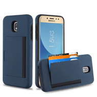 Poket Credit Card Hybrid Armor Case for Samsung Galaxy J7 (2018) / J7 Refine / J7 Star / J7 V (2nd Gen) - Navy Blue