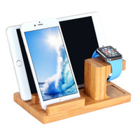 Bamboo Wood Desktop Charger 4 USB Ports Charging Station with Detachable Apple Watch Dock