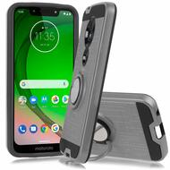 *Sale* Sports Hybrid Armor Case with Smart Loop Ring Holder for Motorola Moto G7 Power / G7 Supra - Grey