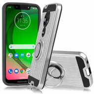 *Sale* Sports Hybrid Armor Case with Smart Loop Ring Holder for Motorola Moto G7 Power / G7 Supra - Silver