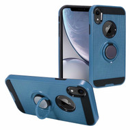 Sports Hybrid Armor Case with Smart Loop Ring Holder for iPhone XR - Blue