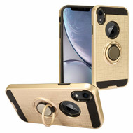 Sports Hybrid Armor Case with Smart Loop Ring Holder for iPhone XR - Gold