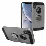 Sports Hybrid Armor Case with Smart Loop Ring Holder for iPhone XR - Grey
