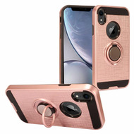 Sports Hybrid Armor Case with Smart Loop Ring Holder for iPhone XR - Rose Gold