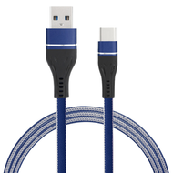 Nylon Wrap USB-C (Type-C) Charge and Sync Tangle-Free Flat USB Cable - Navy Blue