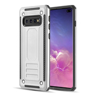 Rugged Armor Shock Absorbent Case for Samsung Galaxy S10 Plus - Silver