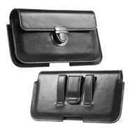 Leather Luxury Horizontal Pouch with Hidden Pocket - Black