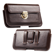 Leather Luxury Horizontal Pouch with Hidden Pocket - Brown