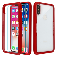 Reflex Hybrid Case with Front and Back Tempered Glass Protector for iPhone XS / X - Red