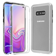 Magnetic Adsorption Tempered Glass Hybrid Bumper Case and Screen Protector for Samsung Galaxy S10e - Silver