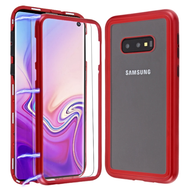 *Sale* Magnetic Adsorption Tempered Glass Hybrid Bumper Case and Screen Protector for Samsung Galaxy S10e - Red
