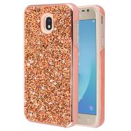 Desire Mosaic Crystal Hybrid Case for Samsung Galaxy J7 (2018) / J7 Refine / J7 V (2nd Gen) - Rose Gold