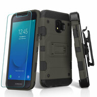 Military Grade Certified Storm Tank Hybrid Armor Case + Holster + Tempered Glass for Samsung Galaxy J2 / J2 Pure - Grey