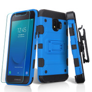 Military Grade Certified Storm Tank Hybrid Armor Case + Holster + Tempered Glass for Samsung Galaxy J2 / J2 Pure - Blue