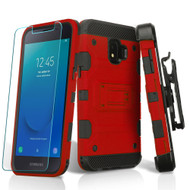 Military Grade Certified Storm Tank Hybrid Armor Case + Holster + Tempered Glass for Samsung Galaxy J2 / J2 Pure - Red