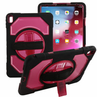 3-IN-1 Hybrid Armor Case with Rotatable Hand Strap and Stand for iPad Pro 11 inch - Red
