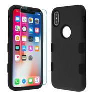 TUFF Lyte Hybrid Armor Case and Tempered Glass Screen Protector for iPhone XS / X - Black