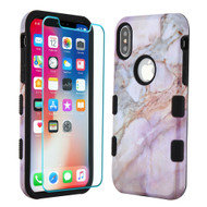 TUFF Lyte Hybrid Armor Case and Tempered Glass Screen Protector for iPhone XS / X - Marble Purple