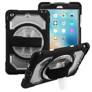 3-IN-1 Hybrid Armor Case with Rotatable Hand Strap and Stand for iPad Mini 1 / 2 / 3 - Clear