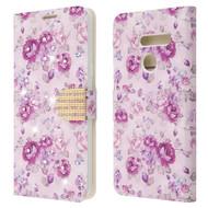 Luxury Bling Portfolio Leather Wallet Case for LG G8 ThinQ - Fresh Purple Flowers