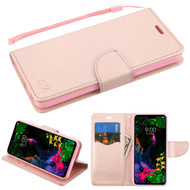 Crossgrain Series Diary Leather Wallet Stand Case for LG G8 ThinQ - Rose Gold