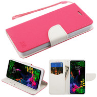 Crossgrain Series Diary Leather Wallet Stand Case for LG G8 ThinQ - Hot Pink White