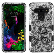 Military Grade Certified TUFF Hybrid Armor Case for LG G8 ThinQ - Four Leaf Clover Silver