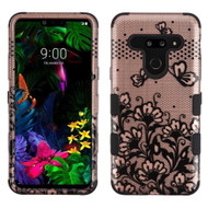 Military Grade Certified TUFF Hybrid Armor Case for LG G8 ThinQ - Lace Flowers Rose Gold